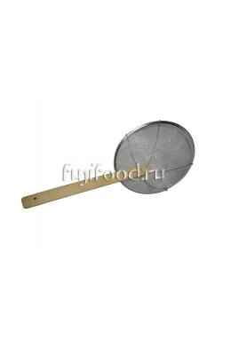 Сито шумовка с деревянной ручкой 25,5см    纲丝笊篱